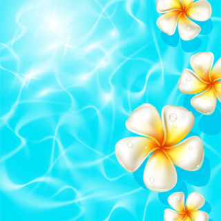 夏らしい透明感のある水面に花の無料イラスト