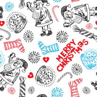 手描きのクリスマスのパターンの無料イラスト
