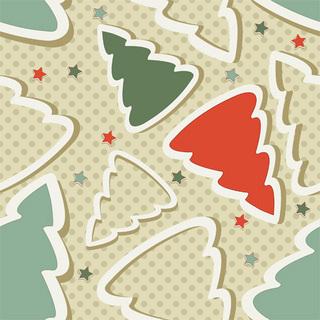 クリスマスツリーと星のパターンの無料イラスト