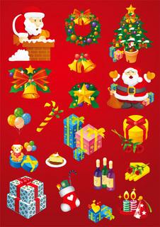 クリスマスのデザインエレメントセットの無料イラスト