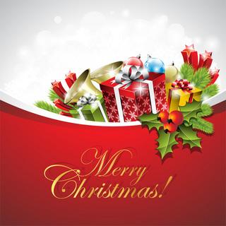 おしゃれなクリスマスカードデザインの無料イラスト
