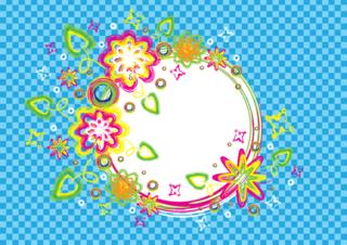 カラフルなブラシで描いた夏をイメージした円フレームの無料イラスト