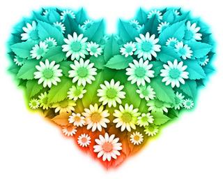 たくさんの花で作ったハートの無料イラスト