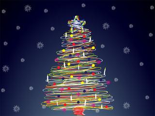 ペンで一筆書きしたようなクリスマスツリーの無料イラスト