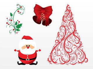 フローラルデザインのクリスマスアイテムの無料イラスト
