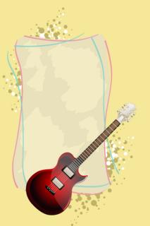 ギターを描いたテキストフレームの無料イラスト