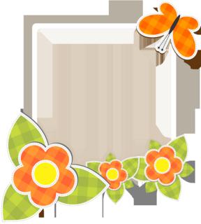 花と蝶のレトロなフォトフレームの無料イラスト