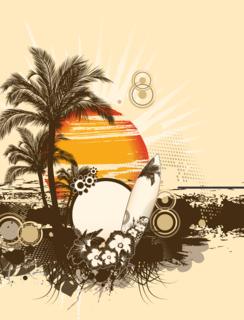 サンライズの真夏のビーチの無料イラスト