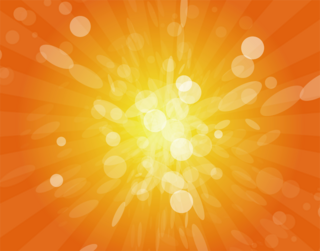 黄色からオレンジ色に放射する光の背景の無料イラスト