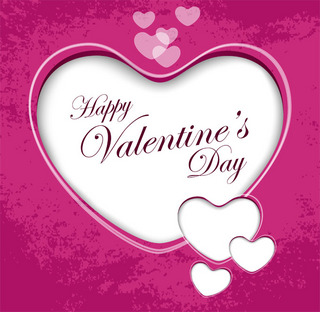 ピンクの背景にハートをデザインしたバレンタインカードの無料イラスト