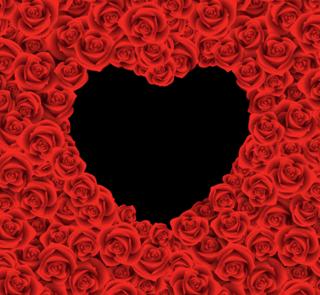 真っ赤なバラでハートをかたどったバレンタインデー背景の無料イラスト