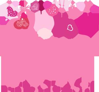 ピンクのハートのオーナメントのバレンタインカードの無料イラスト