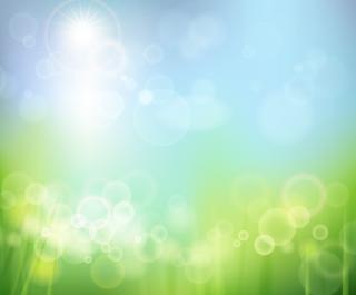 水中の緑の水草から青空の太陽を見上げたような背景の無料イラスト