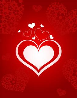 ハートと花をデザインした赤いバレンタインデーの背景 無料イラスト