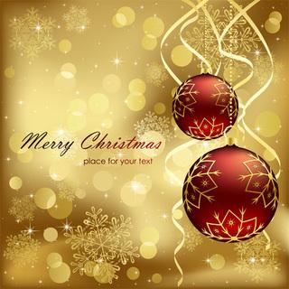赤と金のクリスマス背景の無料イラスト
