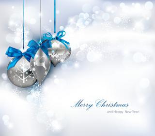 白銀のクリスマス背景の無料イラスト