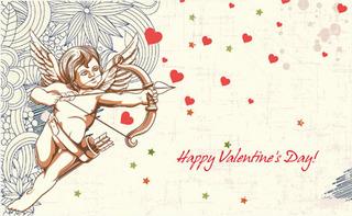 キューピッドとハートを描いたバレンタインデーの無料イラスト