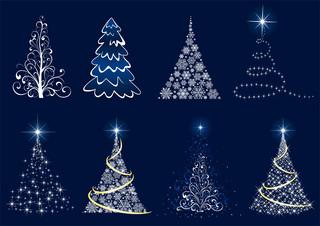 8つのきらめくクリスマスツリーの無料イラスト