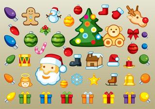 クリスマスアイテムがいっぱいの無料イラスト