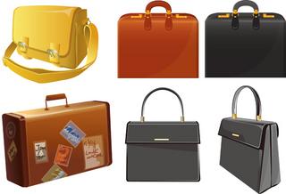6種類のバッグの無料イラスト