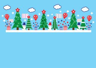 クリスマスツリーと雪だるまのポップなデザインの無料イラスト