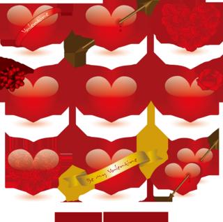 バレンタインデーの6種のハートの無料イラスト