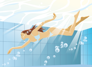 プールで泳ぐビキニの水着を着た美しい女性の無料イラスト